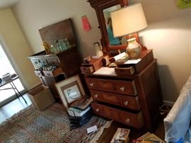 Walnut bar washer and antique jars bottles rugs