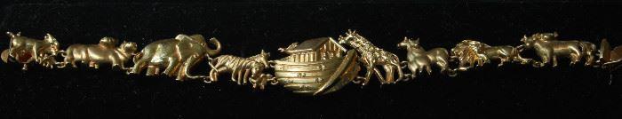 14k gold Noah's Ark bracelet
