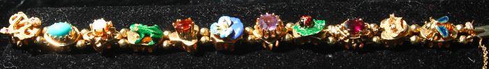 14 k gold, enamel and semi precious bracelet