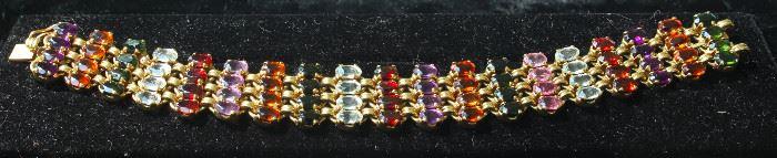 14 k gold and semi-precious stone bracelet