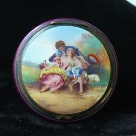 800 silver hand painted guilloche compact