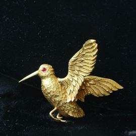 14k ruby eye bird pin