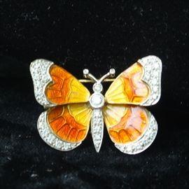 14 k gold, diamond and enamel pin