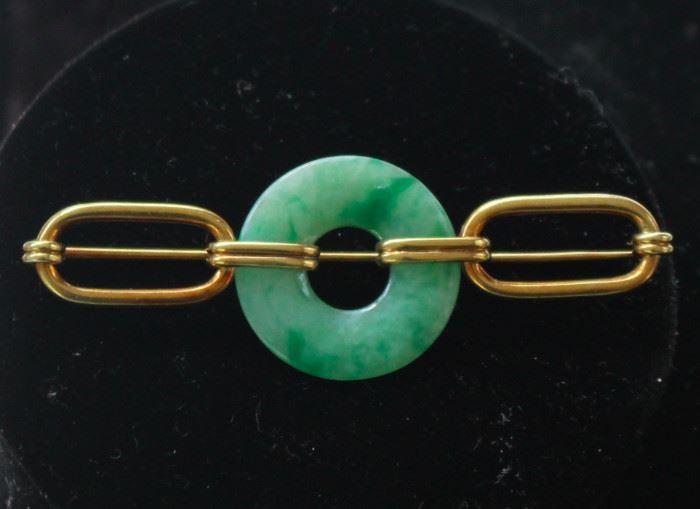 14 k gold jade