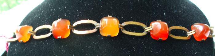 14 k gold carnelian bracelet