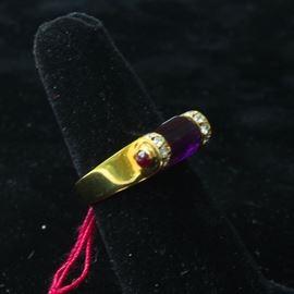 18k gold, polished amethyst, diamonds, ruby