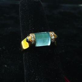 18k gold, polished aqua, diamonds