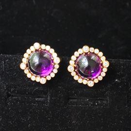 18 k gold, diamond & amethyst earrings