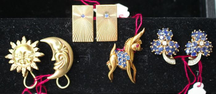 14 & 18 k gold with sapphires and diamonds