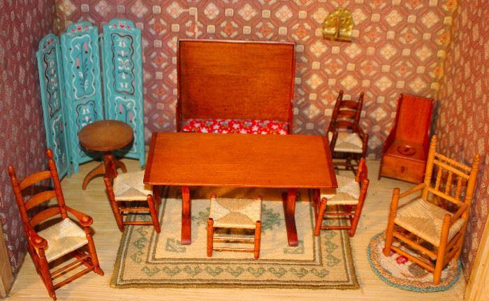 Loads of custom made doll house furniture artist signed