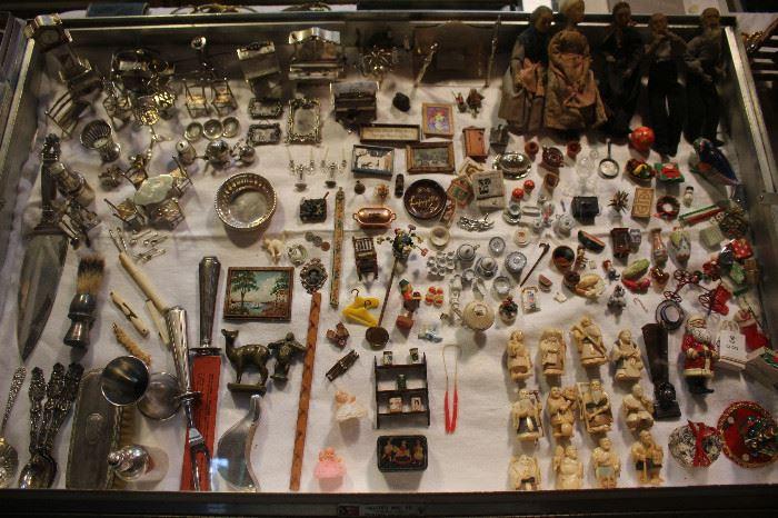 Eugene Kupjack Sterling Silver miniature furniture, netsukes, miniature doll house accessories