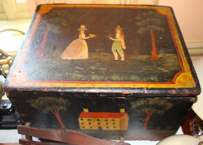 Early 19th century folk art decorated box