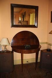 Stromburg speakers, mahogany hinge top demi-lune table