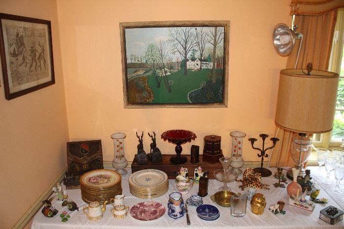 Wide variety of porcelain, glass and primitive items