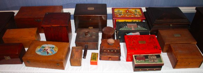Collection of boxes and humidors