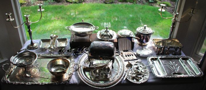 Beautiful assortment of silverplated table articles