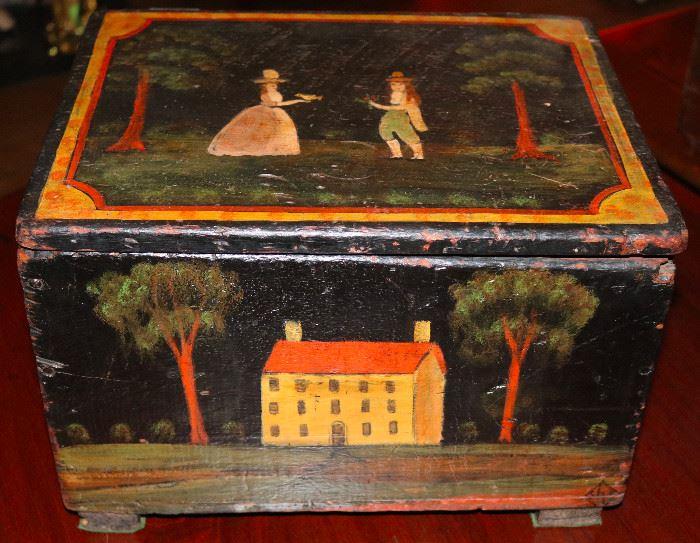 Beautiful antique folk painted box