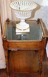 Walnut vitrine table