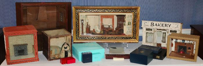 Custom miniature rooms including a completely furnished diorama msde and signed Eugene Kupjack (google that)