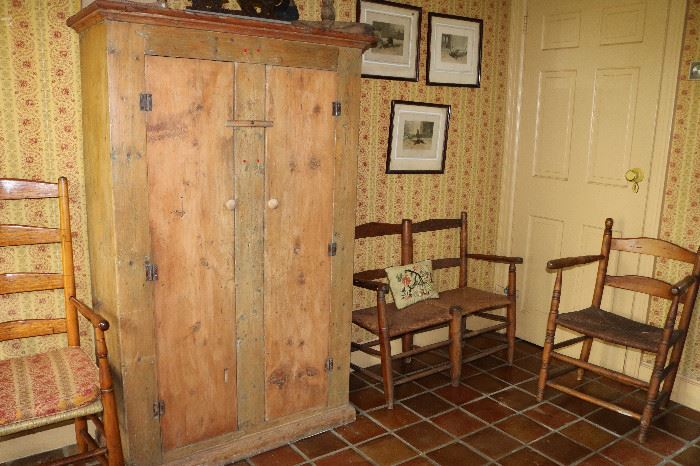 Antique cupboard, buggy seat, chairs