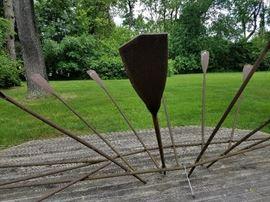 """Steel Boat Sculpture """"Lines"""" by Van Lewick (Cranbrook), 1990"""