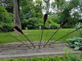 """Steel Boat Sculpture """"Lines"""", Van Lewick, 1990"""