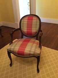 Pair of French Chairs with Silk Fabric