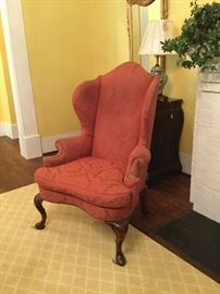 Beautiful pair of large scale antique wing-back chairs