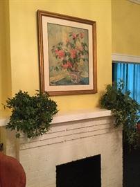 Large framed floral print