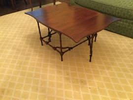 8x10 yellow patterned rug and Gate-legged coffee table