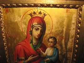 Russian icon.  Holy Mother and the Christ Child.  The state seals are present, as required.