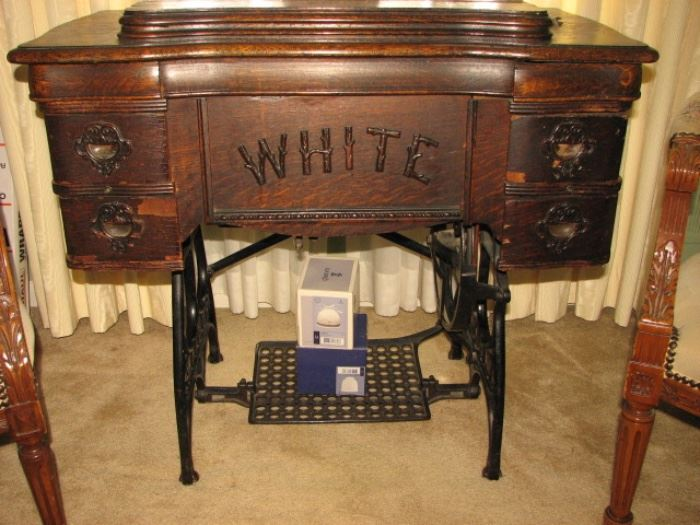 White sewing cabinet