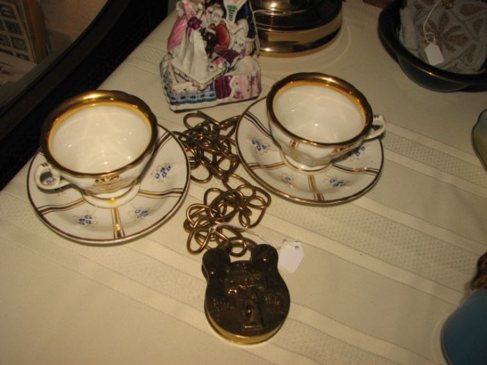 Railroad padlock, vintage teacup & saucers