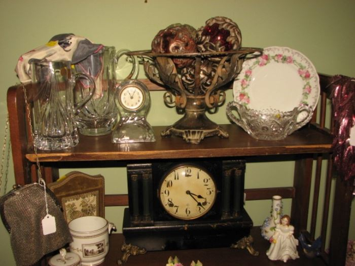 vintage glass steins, mantle clock, chain mail purse