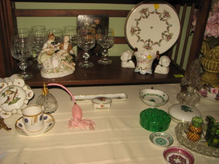 vintage perfume atomizer, porcelain serving wares, glass flower frog