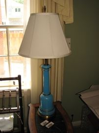blue milk glass lamp