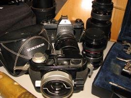 Nikonos camera, Pentax camera, lenses