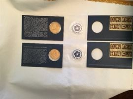 American Revolution Bicentennial Coins (2) with First Issue cancelled stamps