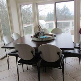 DAKOTA JACKSON SQUARE TABLE AND 8 CHAIRS