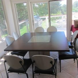 DAKOTA JACKSON CHAIRS  CUSTOM TABLE WITH STAINLESS STEEL INSERT AND BASE
