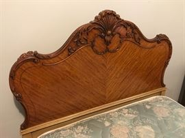 Gorgeous pair of antique twin headboards & footboards (matching tall dresser and vanity desk, and nightstand)