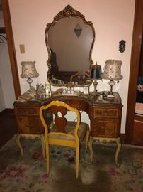 Matching antique Vanity, mirror and chair