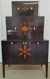 Inlaid stacking bar cabinet by Polidor