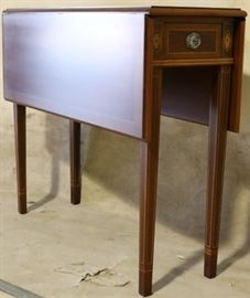 Inlaid drop side table by Polidor