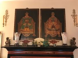 Emporer and Empress painted portraits, cast iron foo dogs, porcelain vases