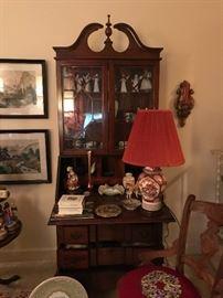 Mahogany secretary desk with fret work glass doors