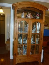 Beautiful solid oak lighted curio (touch light)