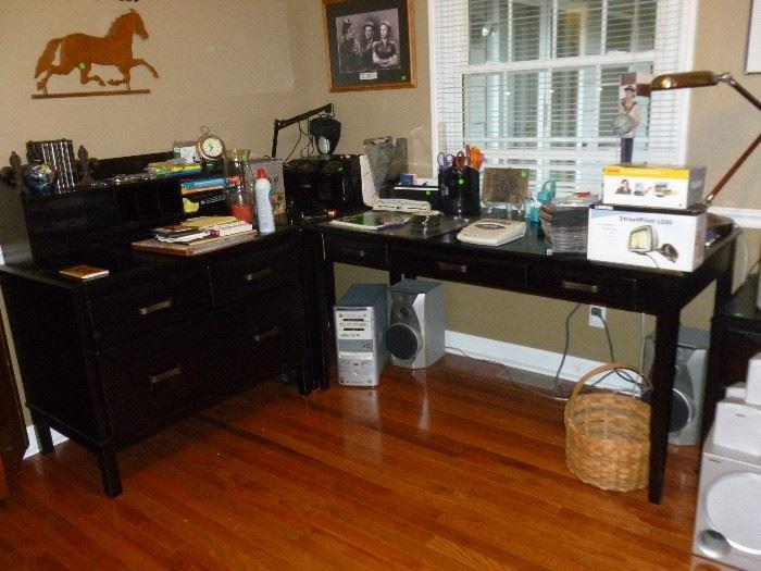 Desk, corner table, credenza & file cabinet (next photo)