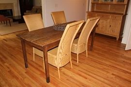 Wicker chairs by Llyod Loom, Antique French dining table