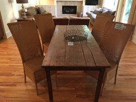 Wicker chairs by Llyod Loom ($150/each), Antique French dining table